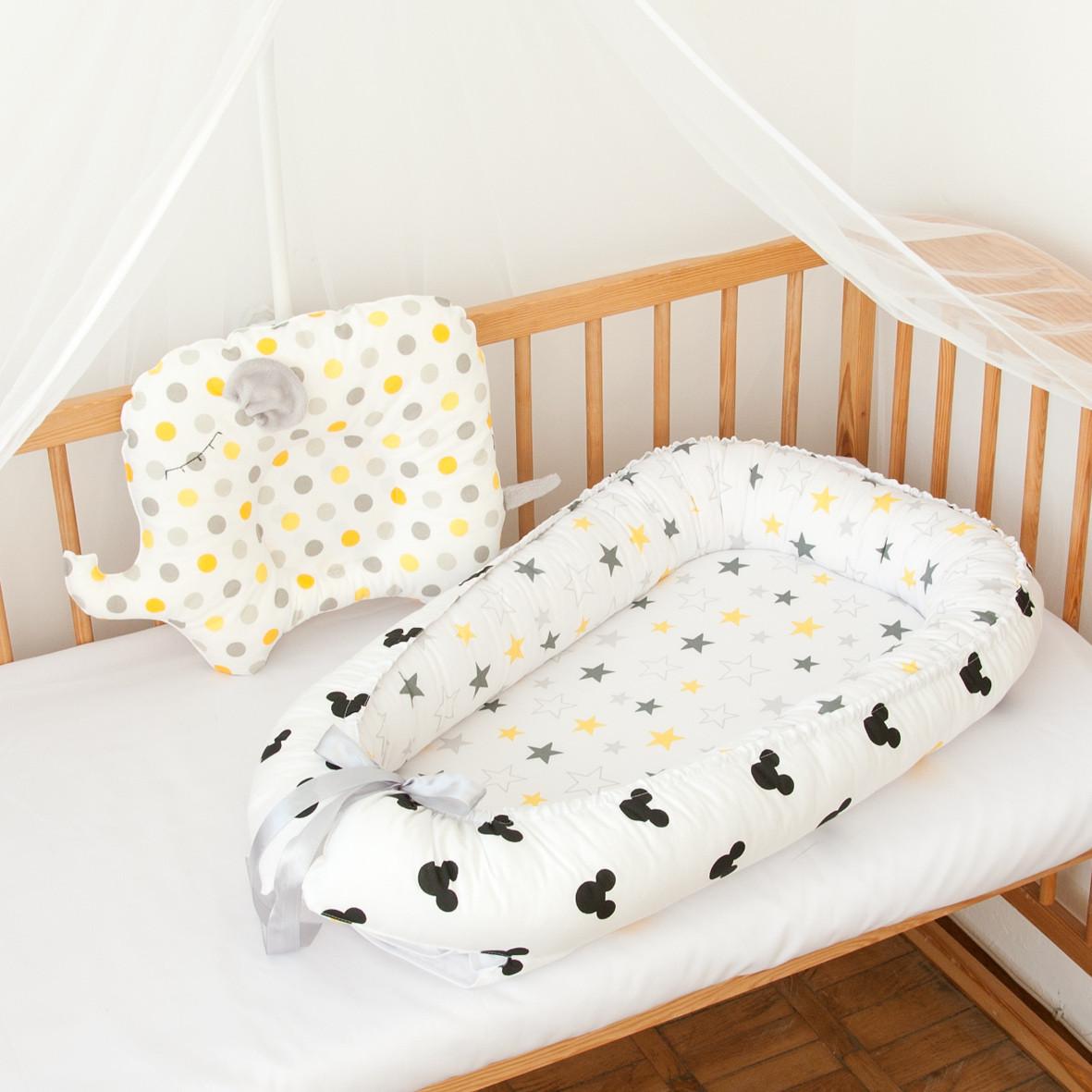 """Гнездышко-кокон для новорожденных """"Yellow Mickey"""""""