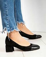 Туфли женские на среднем каблуке черные, фото 1