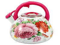 Чайник емальований зі свистком 2,2л Троянда 23/L PINK HANDLE ТМZAUBERG