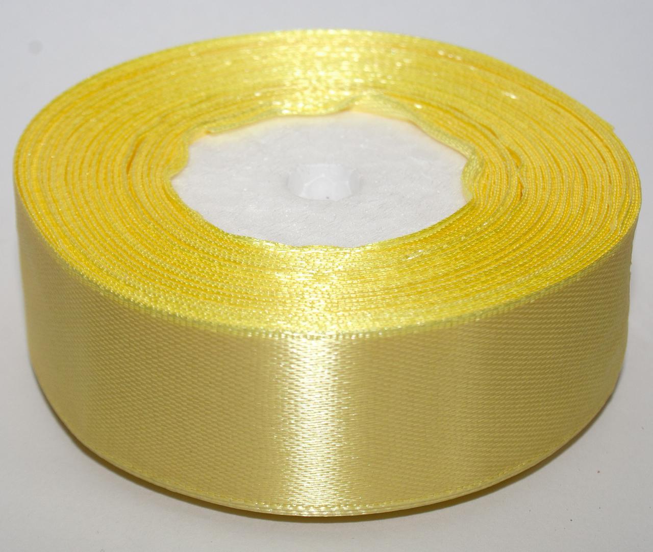 Лента атласная ширина 2,5 см (23 метра) цвет - желтый