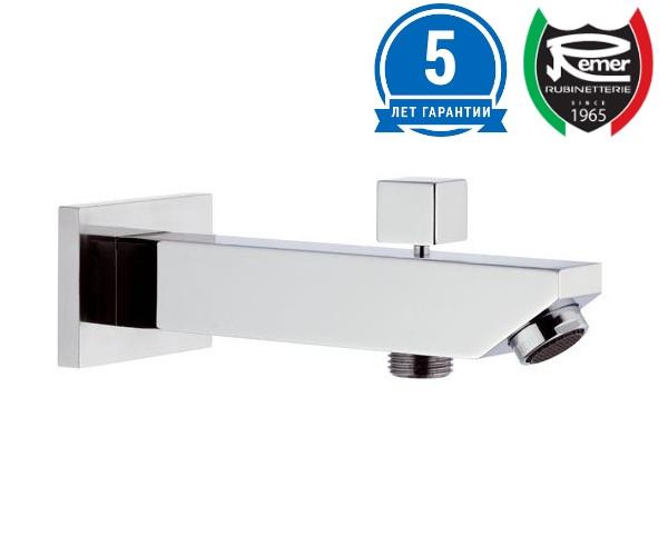Излив для ванны скрытого монтажа квадратный с переключателем на душ REMER 91SD