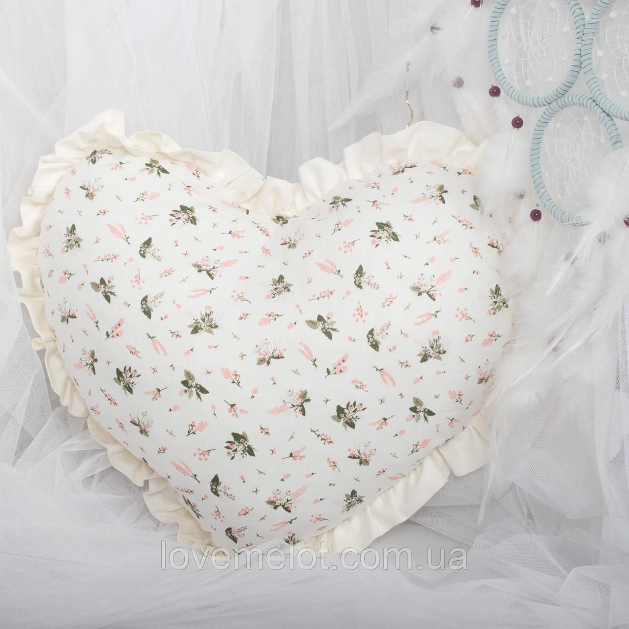 Декоративная подушка в форме сердца с рюшами, цвет на выбор подушка детская для декорав форме сердца