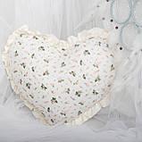 Декоративная подушка в форме сердца с рюшами, цвет на выбор подушка детская для декорав форме сердца, фото 2