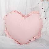 Декоративная подушка в форме сердца с рюшами, цвет на выбор подушка детская для декорав форме сердца, фото 4