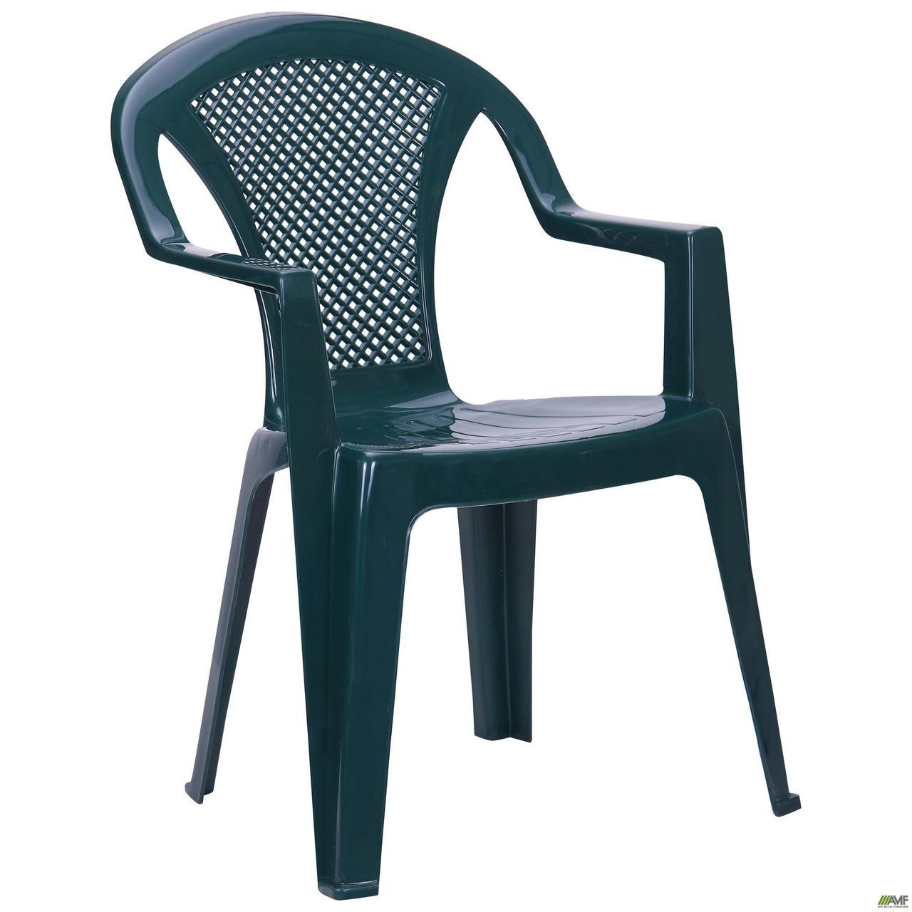 Вуличний стілець AMF Ischia зелений пластик для саду на терасу в кафе