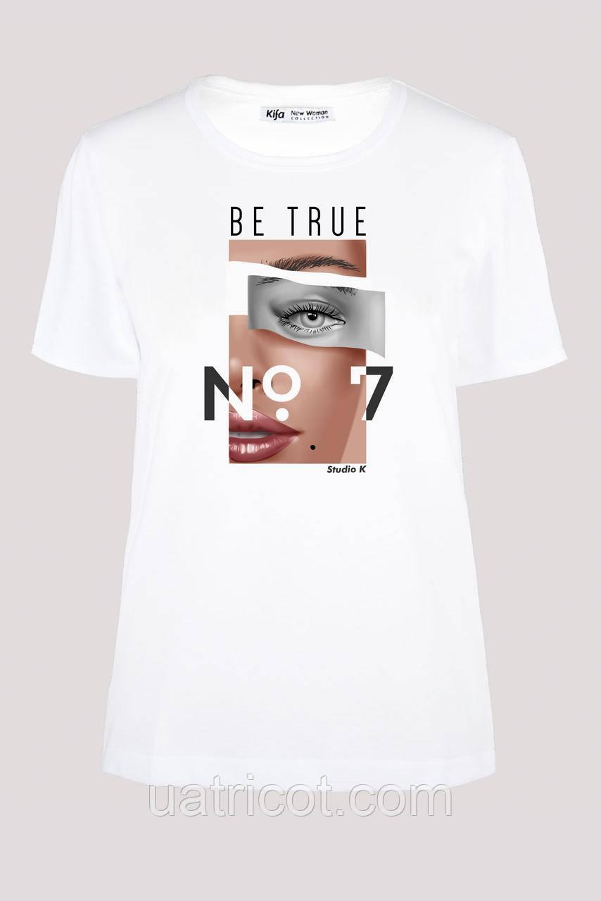Футболка женская KIFA ФЖ-017/30 BE TRUE № 7 белая