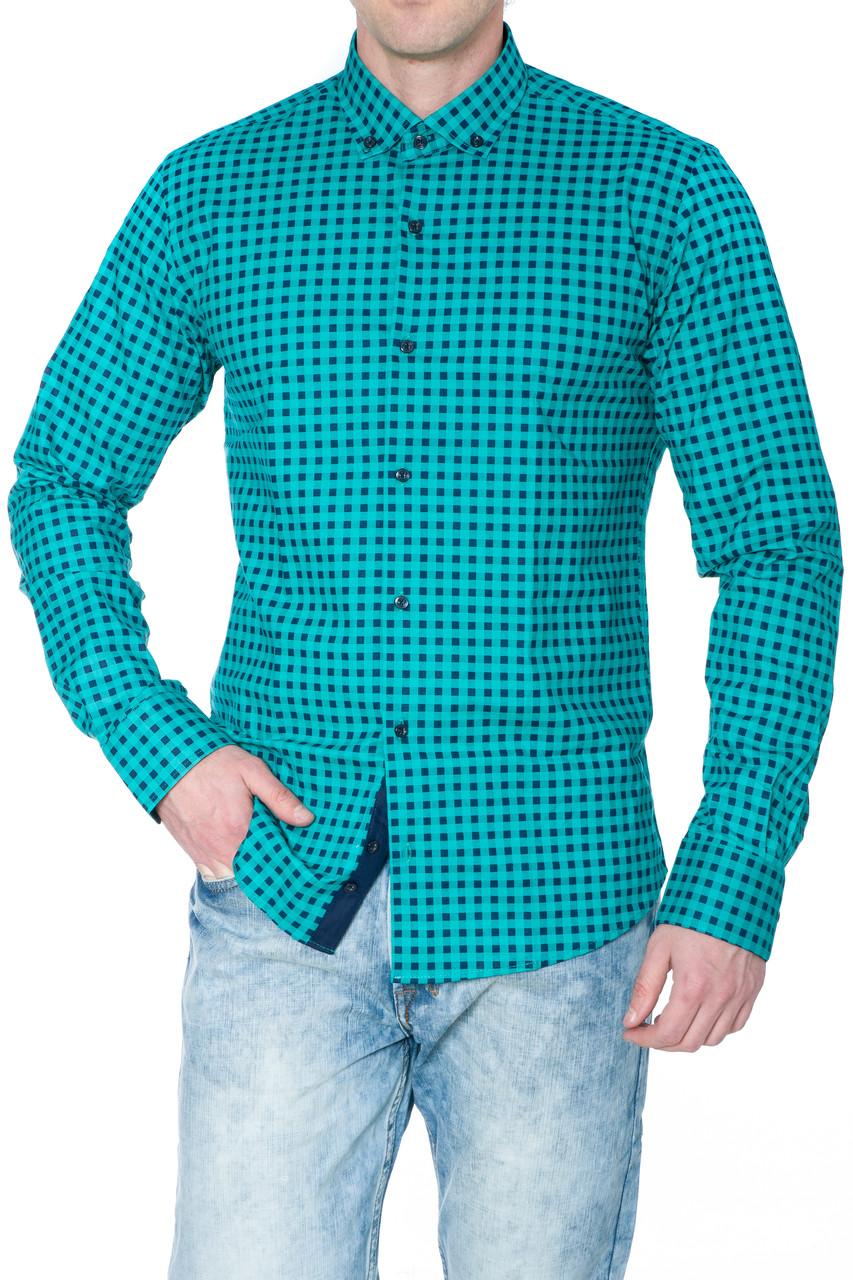 Рубашка мужская G 1276002 в клетку зеленая
