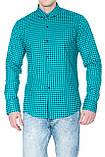 Рубашка мужская G 1276002 в клетку зеленая, фото 4
