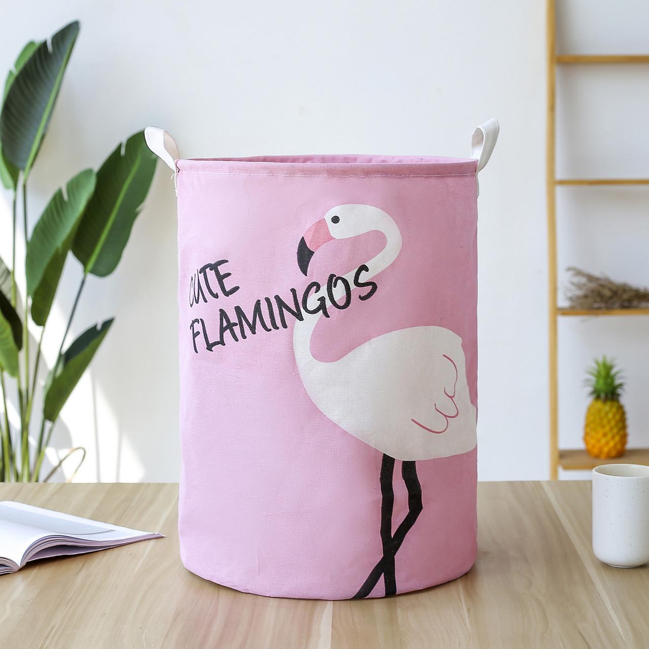 Корзина для игрушек с ручками Розовый фламинго (35х45)