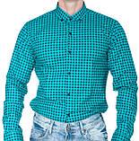 Рубашка мужская G 1276002 в клетку зеленая, фото 3