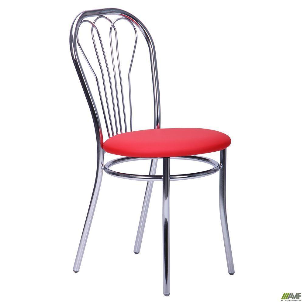 Кухонний стілець AMF Велес 830х400х500 мм хром червоне сидіння м'яке для кафе