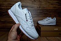 Мужские кроссовки в стиле Reebok Classic, белые на бежевой кожа 46 (29,5 см)