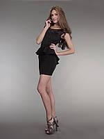 Платье короткое баска черное, фото 1