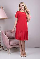 Нарядное женское платье в горох Анет(48-54)красный