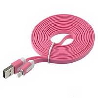USB кабель плоский для Apple iPhone 5/5S/6 Розовый