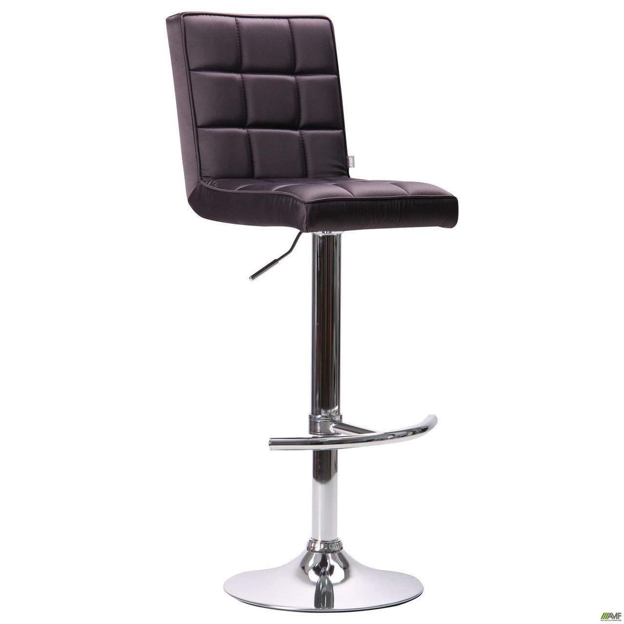 М'який стілець барний-хокер АМФ Версаль хром сидіння темно-сірий кожзам для кафе