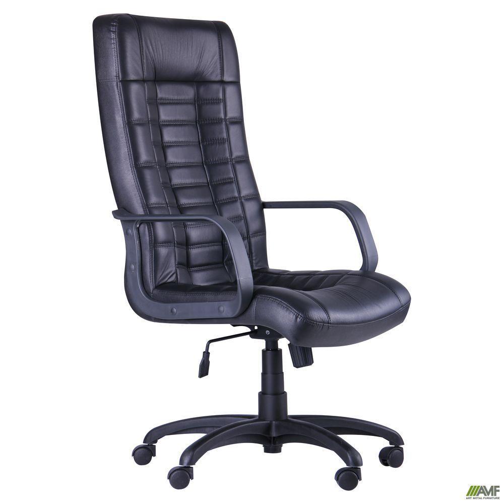 Офісне крісло AMF Паріс Пластик чорний кожзам висока спинка на коліщатках