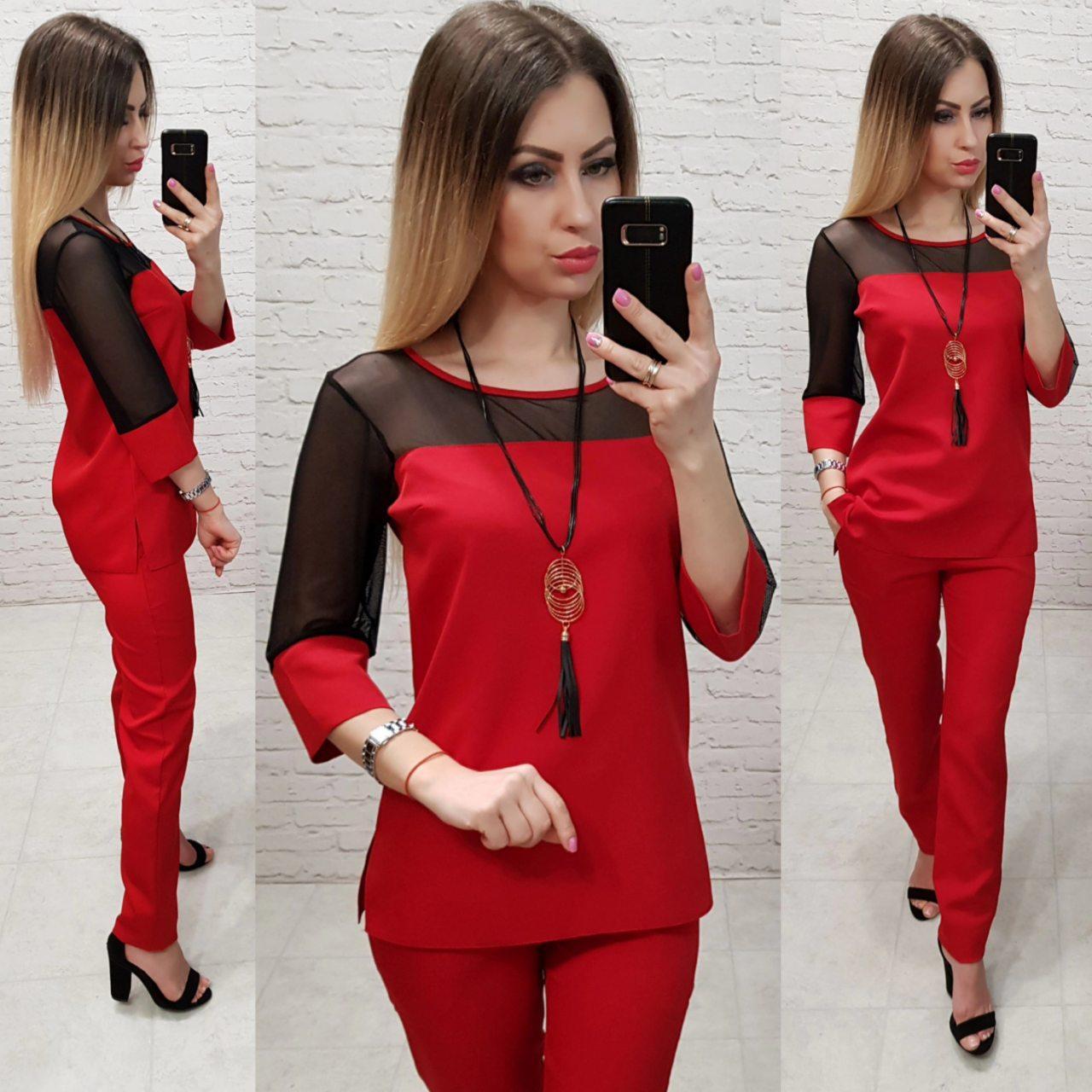 Костюм женский, креп+сетка, модель 153, цвет - красный