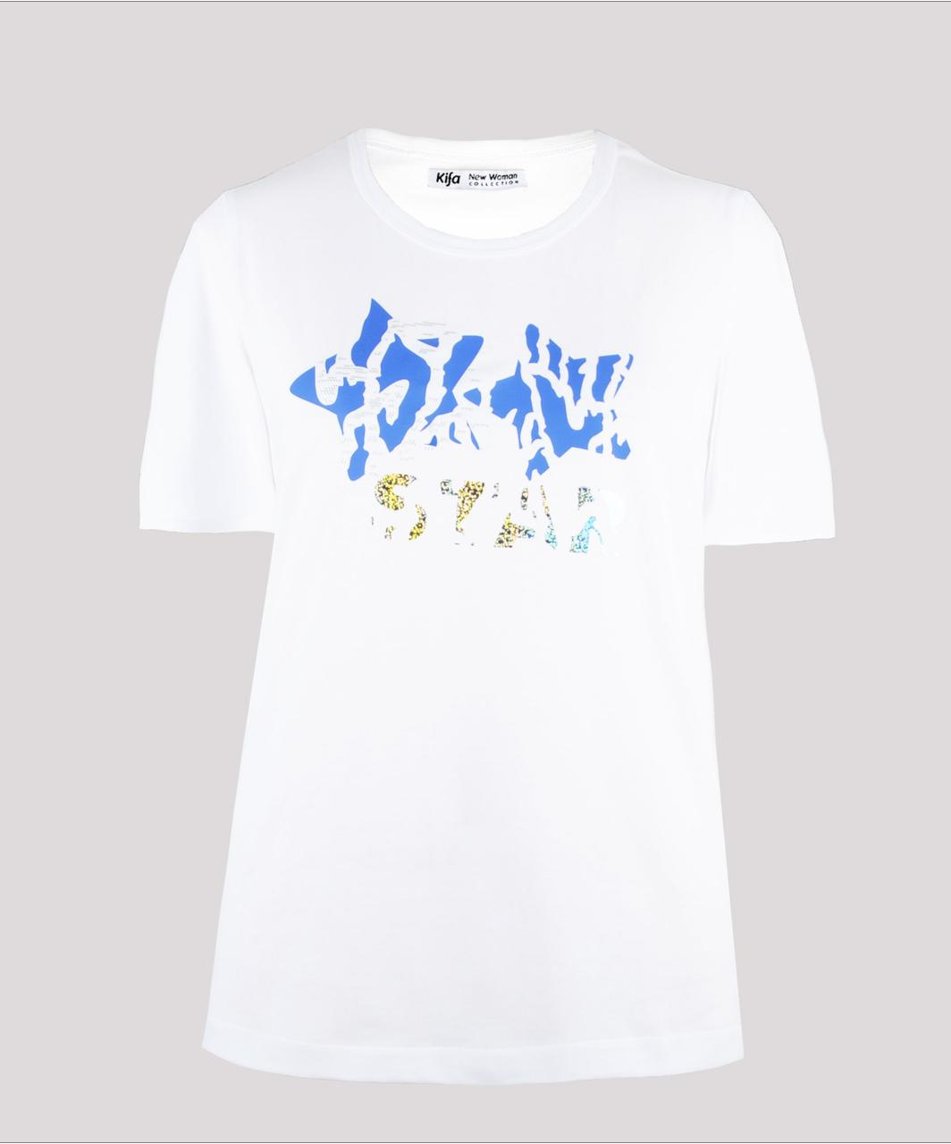 Футболка женская KIFA ФЖ-017/30 STAR BLUE белая