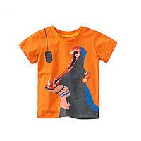 ✔Футболка для мальчика, оранжевая. Бегемотик.