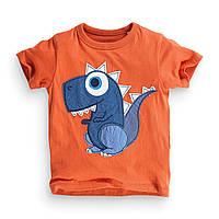 ✔Футболка для мальчика, оранжевая. Динозавр.