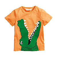 ✔Футболка для мальчика, оранжевая. Крокодил.