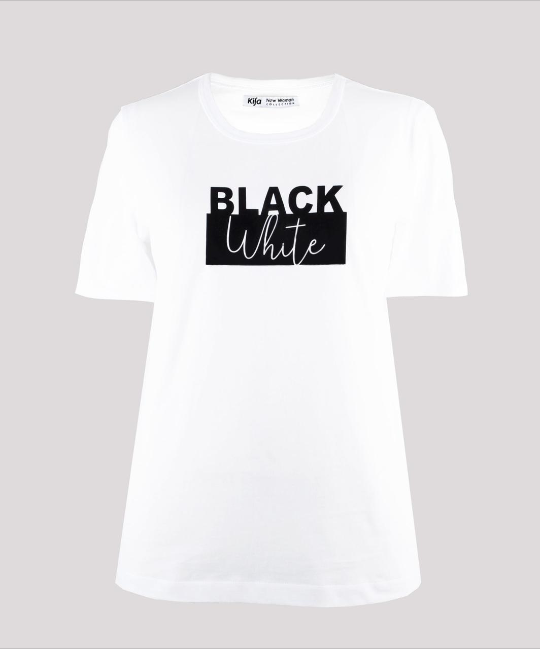 Футболка женская KIFA ФЖ-017/30 BLACK WHITE белая