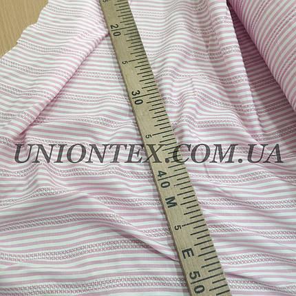 Рубашечная ткань полоска с вышивкой розовая, фото 2