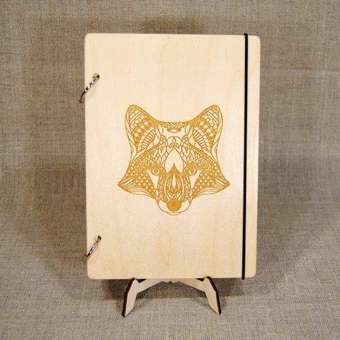 Скетчбук Fox. Блокнот с деревянной обложкой.