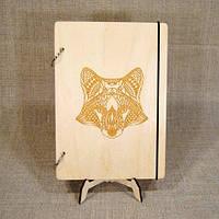 Скетчбук Fox. Блокнот с деревянной обложкой., фото 1