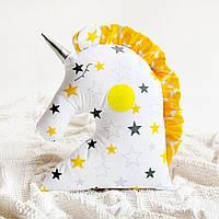 "Декоративная подушка ""Единорог"", серо-желтая звездочка"