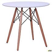 Круглый стол Тауер Вуд-Helis 800 мм белый обеденный на деревянных ножках