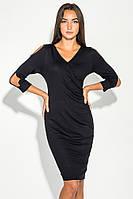 Платье женское с открытыми плечами 490F001 (Черный)