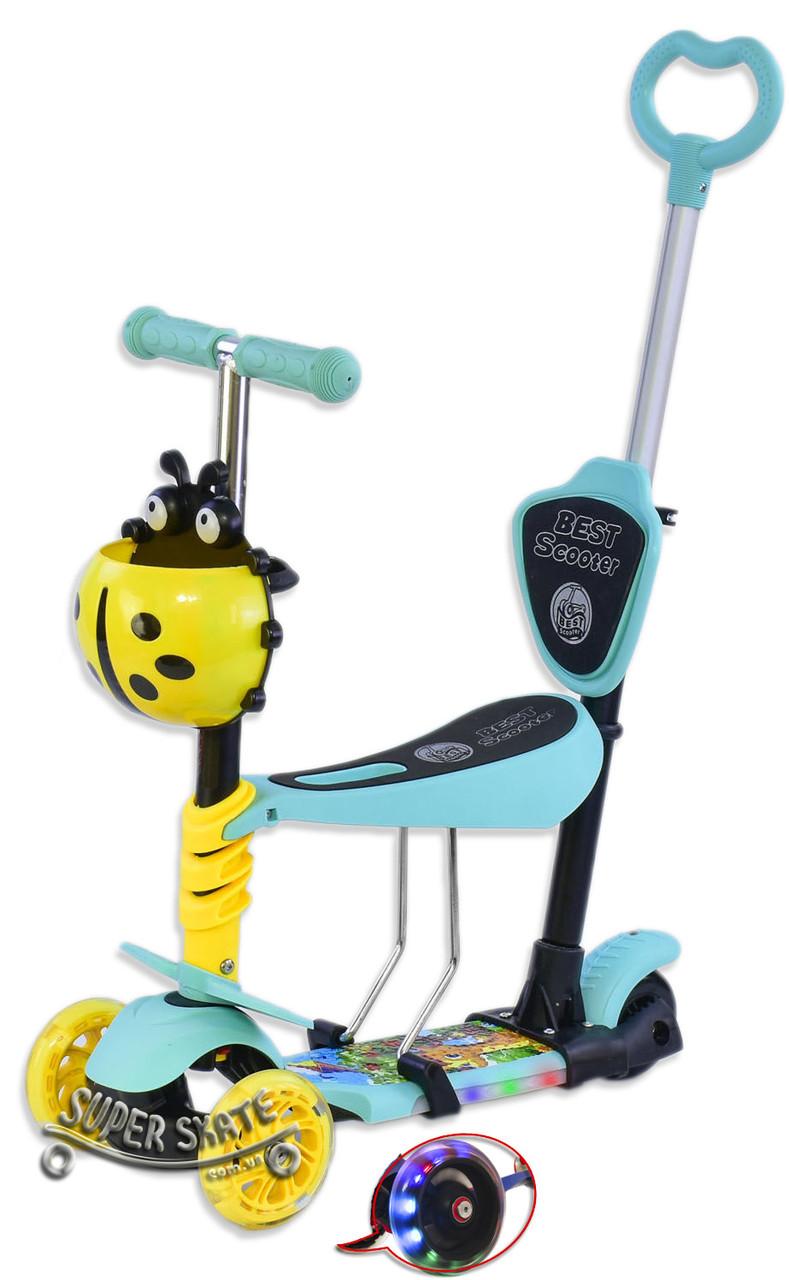 Самокат для малышей 5 в 1, Беговел Scooter - С родительской ручкой и сиденьем - Жираф