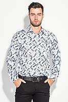 Рубашка мужская светлый принт 3220-4 (Бело-грифельный)