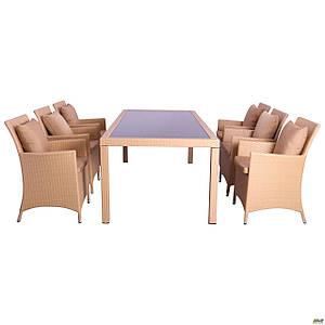 Комплект садовой мебели AMF Samana-6 Elit из искусственного ротанга песочный