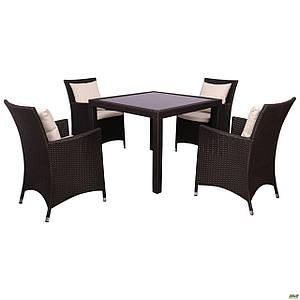 Комплект обеденной мебели AMF Samana-4 из искусственного ротанга Elit коричневый для улицы