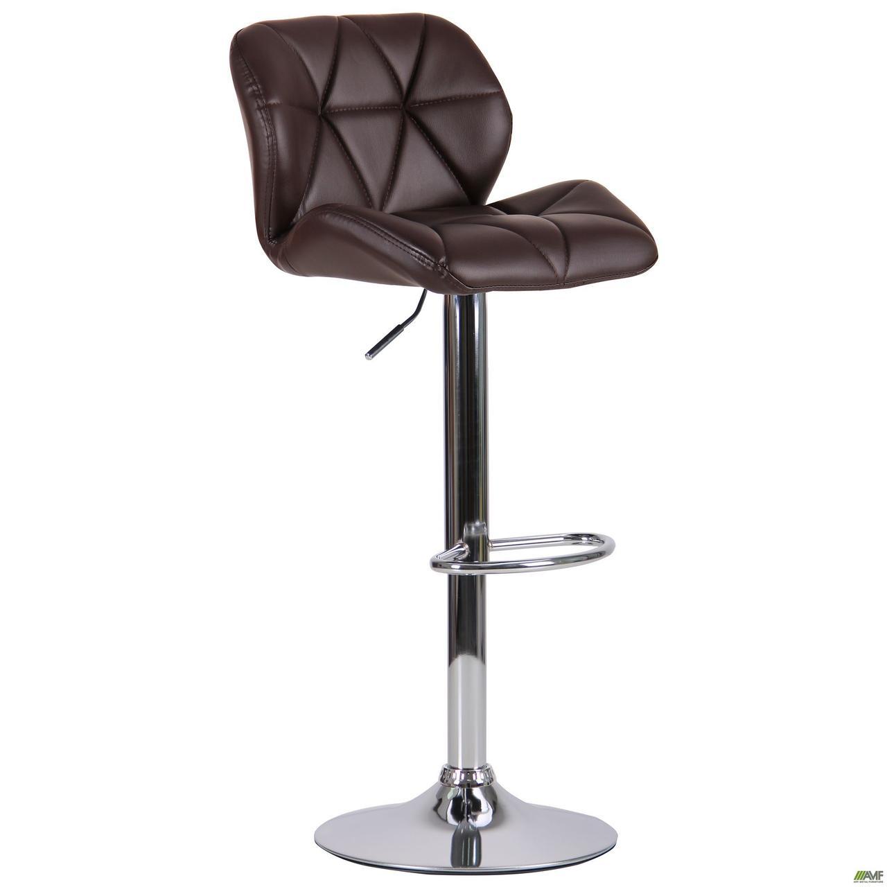 Высокий барный стул AMF Vensan коричневый хром опора ножка