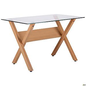 Обеденный стеклянный стол АМФ Maple столешница прозрачное ножки-металл крашенный под дерево бук