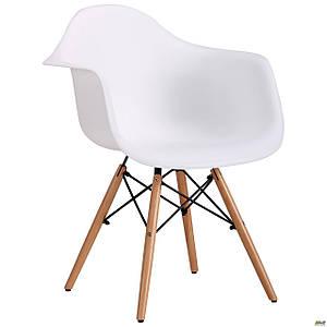 Пластикове крісло біле AMF Salex PL Wood на дерев'яних ніжках для гостей