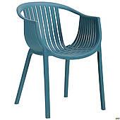 Обеденное кресло АМФ Crocus пластиковое темно-бирбзовое для сада и кафе