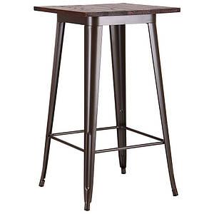 Стол барный AMF Slash 60х60 см высокий металлический каркас кофе