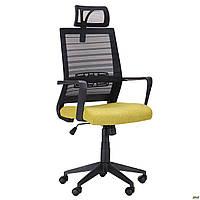 Компьютерное кресло АМФ Radon черная сетка-спинка сидение-оливковая ткань