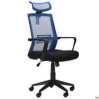 Офисное кресло AMF Neon сетка спинка светло-синя / сидение черное