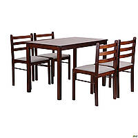 Комплект обеденный Амф Брауни (стол+4 стула) светлый шоколад/латте
