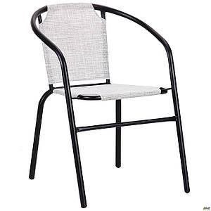 Металлический стул AMF Taco черный-каркас сидение-меланж серый для уличного кафе и сада