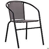 Металлический стул AMF Taco черный сидение-ткань темно-серого цвета для улицы