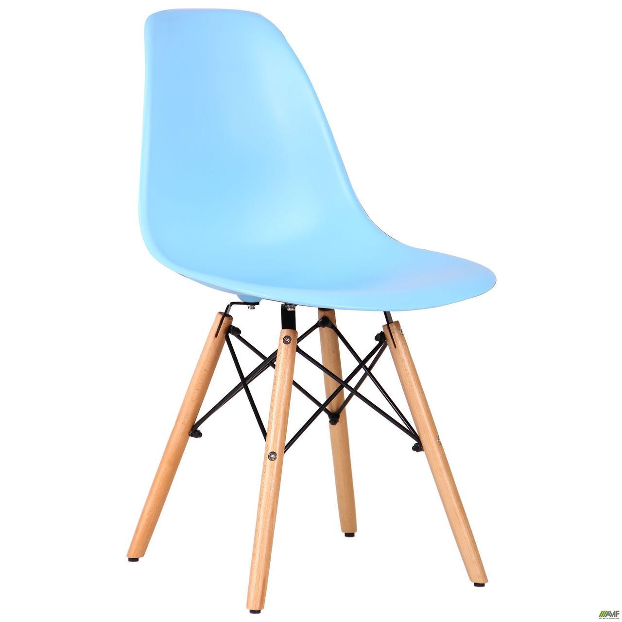 Блакитний стілець AMF Aster PL Wood моноблок сидіння пастик на дерев'яних ніжках