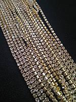 Стразовая цепь, gold, Crystal SS6 (2,0 мм) 1 ряд. Цена за 1м., фото 1
