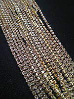 Стразовая цепь, gold, Crystal SS6 (2,0 мм) 1 ряд. Цена за 1м.